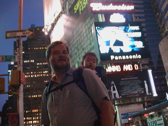 Elle and dad at Times Square.