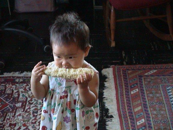 Elle L*O*V*E*S corn on the cob.