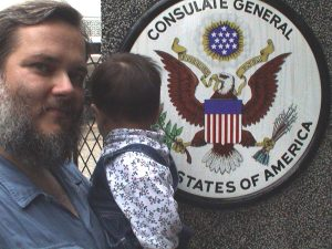 Outside the American Consulate in Guangzhou.