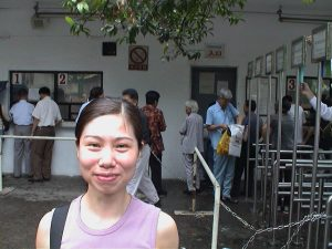 Betty Wong about to get her visa.